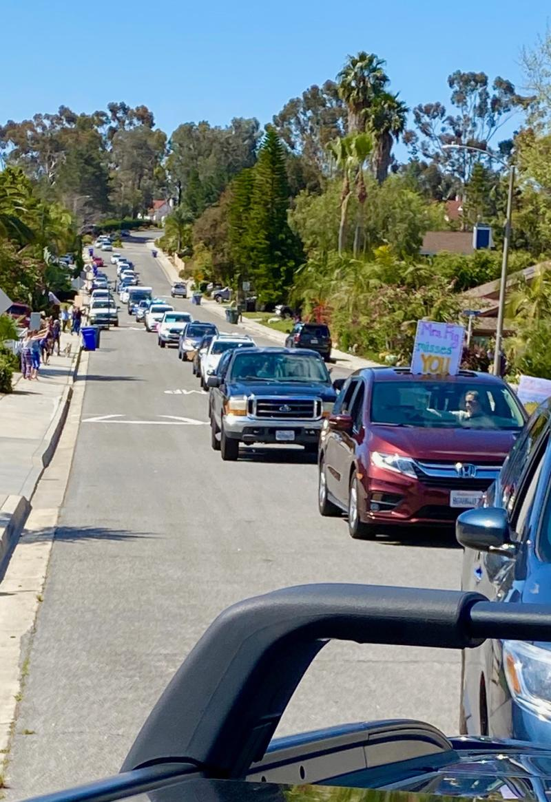 Teachers from a California school district participated in a parade for students at home amid the coronavirus pandemic. (Photo: Courtesy of Mandy Bedard)