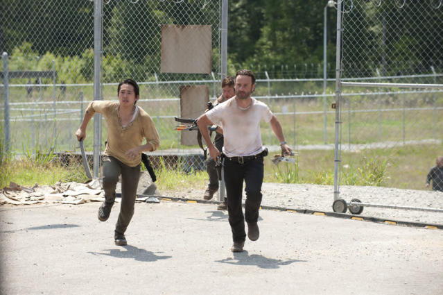 "Glenn (Steven Yeun), Daryl Dixon (Norman Reedus) and Rick Grimes (Andrew Lincoln) in ""The Walking Dead"" episode, ""Killer Within."""