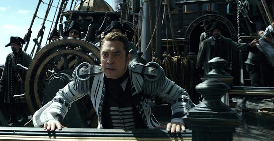 <p>Javier Bardem as the living Captain Salazar in 'Pirates of the Caribbean: Dead Men Tell No Tales' (Photo: Disney)<br> </p>  <p>Message in a Bottle?</p><p> An image from 'Pirates of the Caribbean: Dead Men Tell No Tales' (Photo: Disney)<br><br><br> </p>  <p>Heat Wave</p><p> A spooky Javier Bardem as Captain Salazar in 'Pirates of the Caribbean: Dead Men Tell No Tales' (Photo: Disney)<br><br> </p>  <p>Sweet Bird of Youth</p><p> Captain Jack Sparrow (Johnny Depp) in a flashback scene, made young with the help of CGI in 'Pirates of the Caribbean: Dead Men Tell No Tales' (Photo: Disney)<br><br><br> </p>  <p>Cool vs. Ghoul</p><p> Geoffrey Rush as Barbossa (left) faces off with Javier Bardem as Captain Salazar in 'Pirates of the Caribbean: Dead Men Tell No Tales' (Photo: Disney)<br><br> </p>  <p>Keep Your Eye on the Sparrow</p><p> Johnny Depp as Captain Jack Sparrow in 'Pirates of the Caribbean: Dead Men Tell No Tales' (Photo: Disney)<br><br> </p>  <p>The New Recruit</p><p> Brenton Thwaites plays Henry, a young sailor, in 'Pirates of the Caribbean: Dead Men Tell No Tales' (Photo: Disney)<br><br> </p>