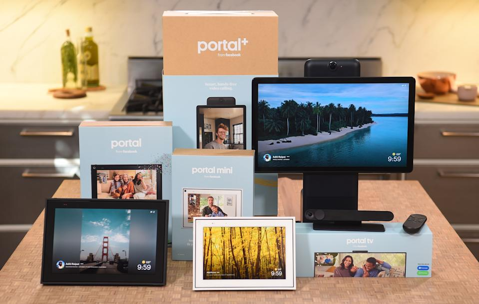 A suite of Facebook Portal products is seen on display during a media event held in San Francisco, California on September 17, 2019. - Facebook on September 18, 2019 unveiled second-generation Portal smart screens, touting them as a way to stay connected to loved ones at the leading social network. Facebook also pushed down costs to make new Portal, Portal Mini, and Portal TV devices more enticing to consumers at a starting price of $129. Portal and Portal Mini will begin shipping on October 15,2019 while a notepad-sized  Portal TV device that turns a television into a smart screen for video calls and more will begin shipping on November 5, 2019 at a price of $149. (Photo by Josh Edelson / AFP)        (Photo credit should read JOSH EDELSON/AFP via Getty Images)