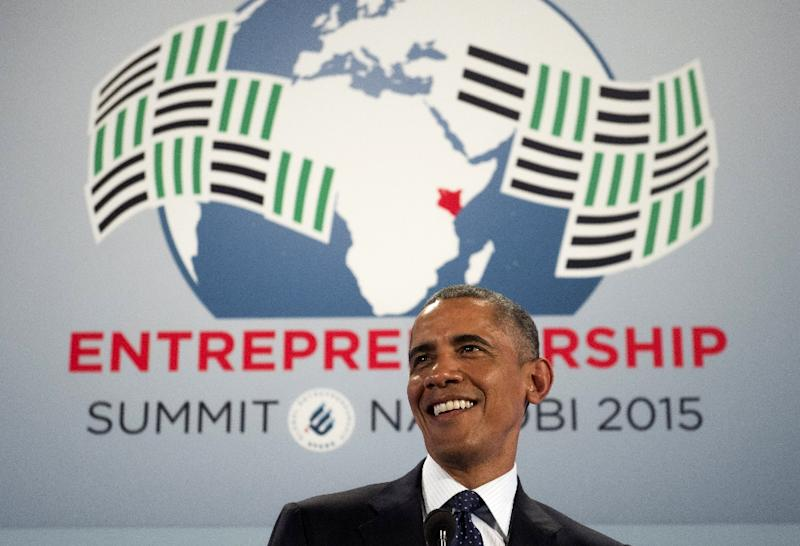 US President Barack Obama speaks during the Global Entrepreneurship Summit at the United Nations Compound in Nairobi on July 25, 2015 (AFP Photo/Saul Loeb)