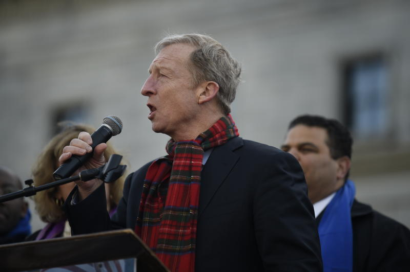 Democratic presidential hopeful Tom Steyer speaks at a Dr. Martin Luther King Jr. Day rally on Monday, Jan. 20, 2020, in Columbia, S.C. (AP Photo/Meg Kinnard)