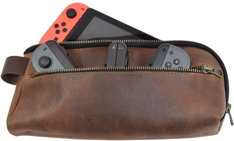 leather switch case with a red joy con against a white background