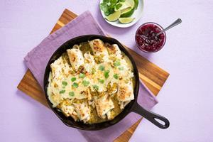 Leftover Turkey Skillet Enchiladas recipe available in attached PDF