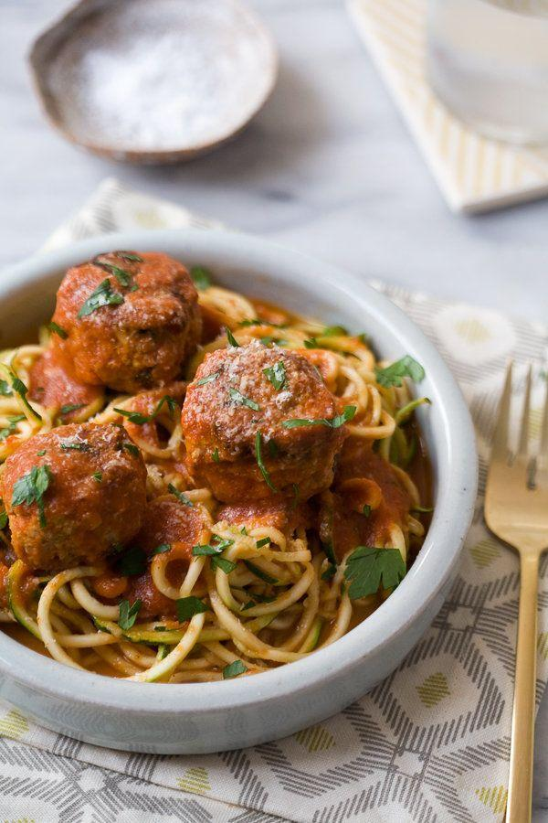 "<strong>Get the&nbsp;<a href=""http://acozykitchen.com/zucchini-noodles-meatballs/"">Zucchini Noodles with Turkey Meatballs recipe</a>&nbsp;from A Cozy Kitchen</strong>"