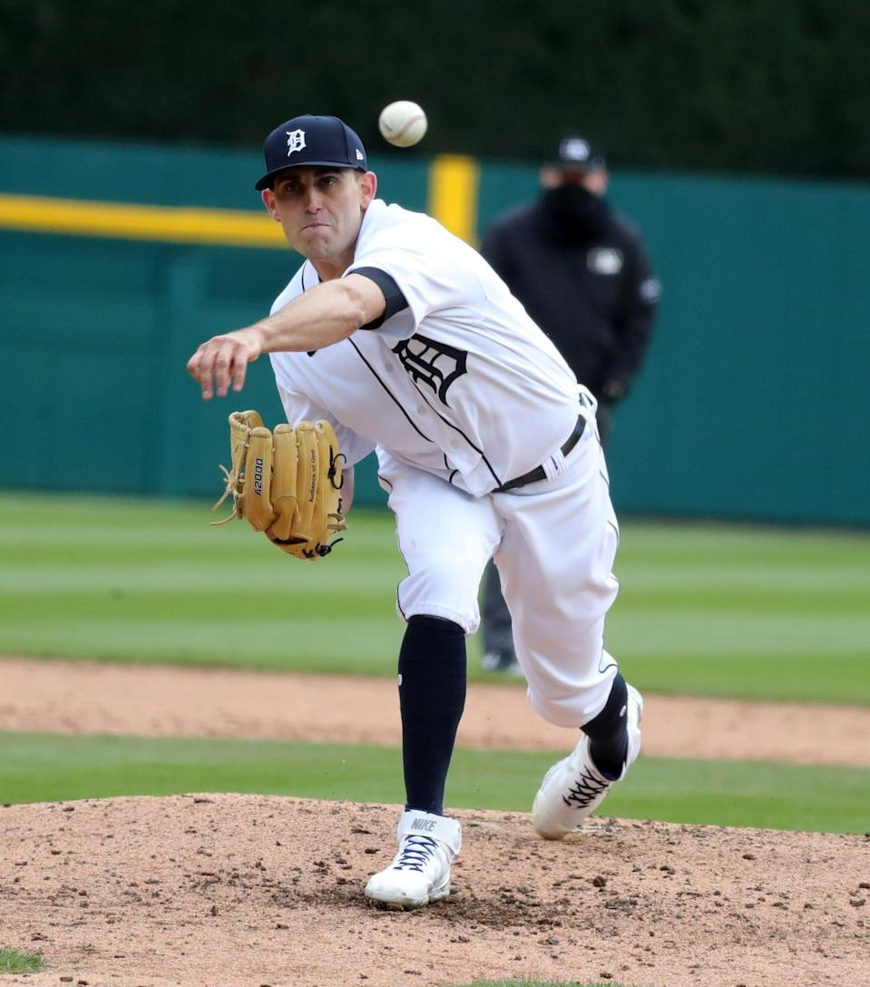 Tigers pitcher Matthew Boyd throws during the fourth inning of the 3-2 win over the Indians on Opening Day on Thursday, April 1, 2021, at Comerica Park.