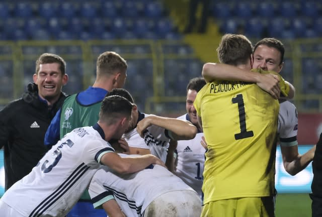 There were jubilant scenes for the Northern Ireland players at the end of the game