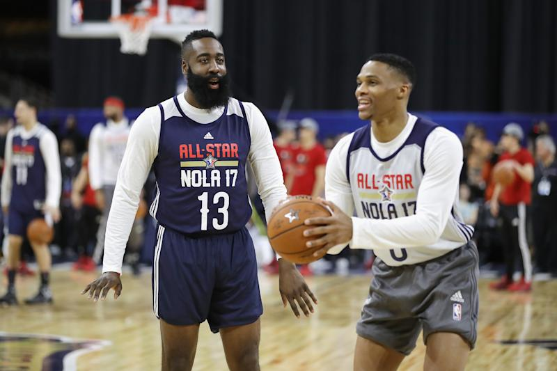 James Harden downplays reports of tension with Chris Paul: 'We're good'