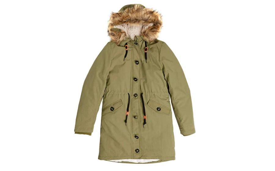Amazon Essentials Womens Water-Resistant Long-Sleeve Parka with Faux Fur Trimmed Hood Faux-Fur Coat in olive. (Image via Amazon)