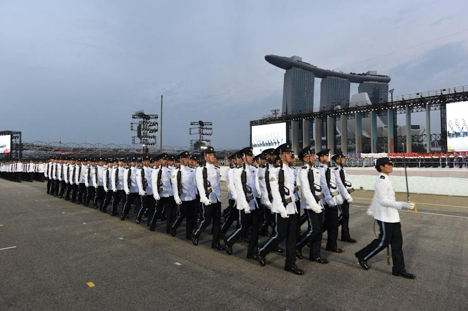 A military contingent from the Singapore Armed Forces at the National Day Parade celebrations at The Float at Marina Bay on 9 August 2018.