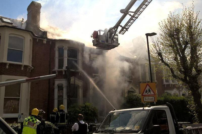 Fire: The blaze broke out after an explosion at the property (London Fire Brigade)