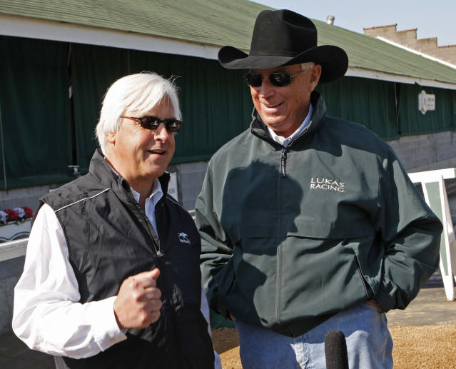 FILE - In this April 28, 2010 file photo, Kentucky Derby hopeful Conveyance trainer Bob Baffert, left, talks to Dublin trainer D. Wayne Lukas at Churchill Downs in Louisville, Ky. Baffert has spent his whole life following Lukas. As a teenager at the quarter horse track in Arizona where Baffert learned about racing, he looked up to Lukas as a legend. Theyve developed a friendship as deep as their combined success as two of the best thoroughbred trainers in racing history that extends to this week when they go head-to-head again in the Preakness Stakes each has won six times. (AP Photo/Ed Reinke, File)