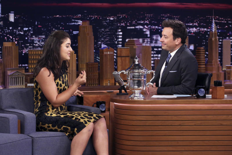 THE TONIGHT SHOW STARRING JIMMY FALLON -- Episode 1115 -- Pictured: (l-r) US Open Women's Singles champion Bianca Andreescu during an interview with host Jimmy Fallon on September 9, 2019 -- (Photo by: Andrew Lipovsky/NBC/NBCU Photo Bank via Getty Images)