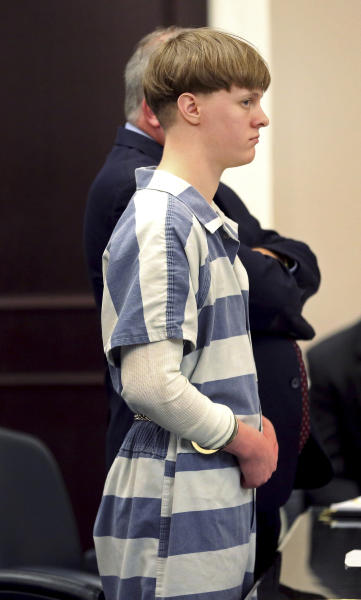 Dylann Roof appears in the Charleston County Court Monday April 10, 2017 to enter his guilty plea on murder charges in Charleston,S.C. The convicted Charleston church shooter, Roof was given nine consecutive life sentences in state prison after he pleaded guilty to state murder charges Monday, leaving him to await execution in a federal prison and sparing his victims and their families the burden of a second trial. (Grace Beahm/The Post And Courier via AP, Pool)