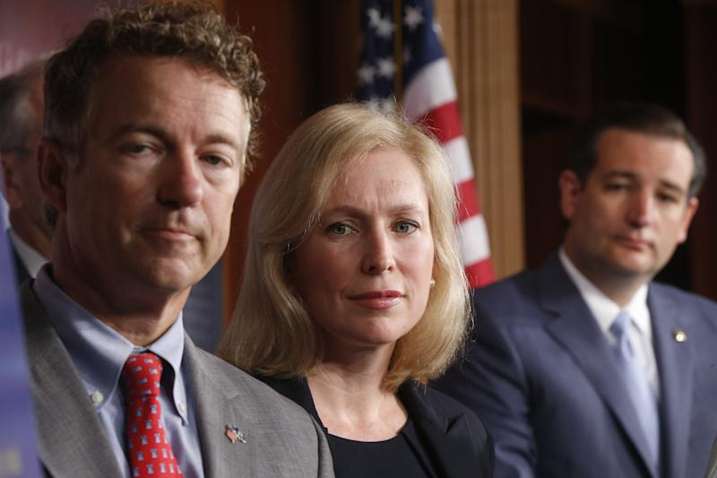 Sen. Kirsten Gillibrand, D-N.Y., Sen. Rand Paul, R-Ky., and Sen. Ted Cruz, R-Texas speak to reporters during a news conference about a bill regarding military sexual assault cases on Capitol Hill in Washington, Tuesday, July 16, 2013. (AP Photo/Charles Dharapak)