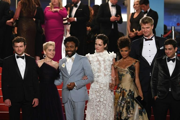 Glover, 2nd left, poses with other Hollywood celebrities at the Cannes Film Festival on May 15, 2018