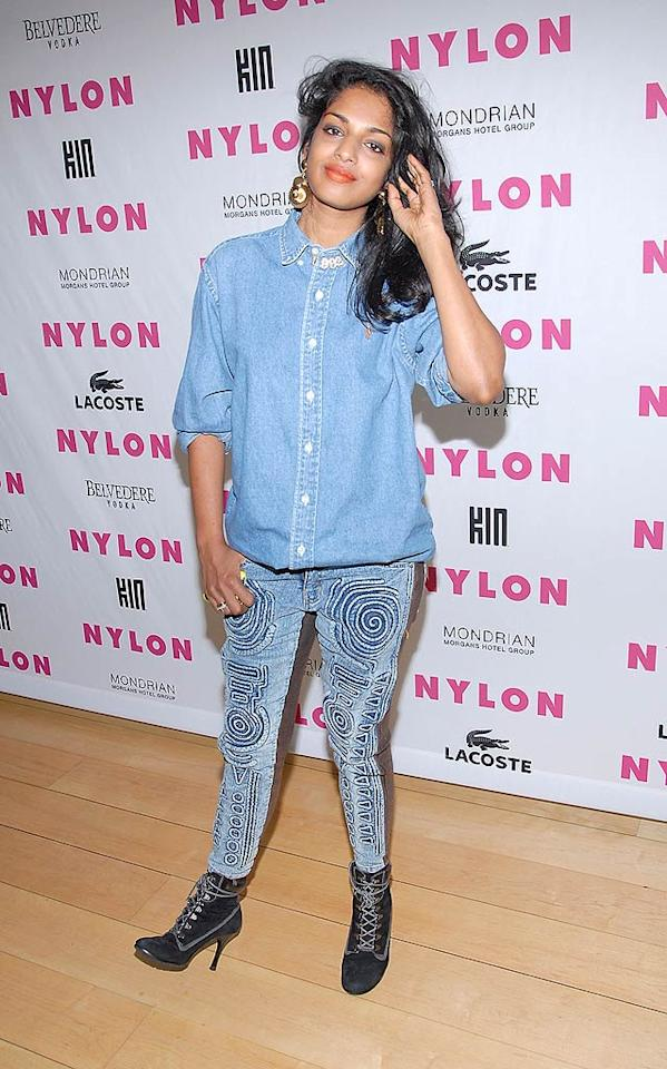 "M.I.A.'s sense of style has been MIA ever since she arrived on the scene in 2000, and the Brit-born Sri Lankan once again embarrassed herself at a <i>Nylon</i> magazine fete in this denim-on-denim fashion faux pas. Michael Tullberg/<a href=""http://www.gettyimages.com/"" target=""new"">GettyImages.com</a> - June 22, 2010"