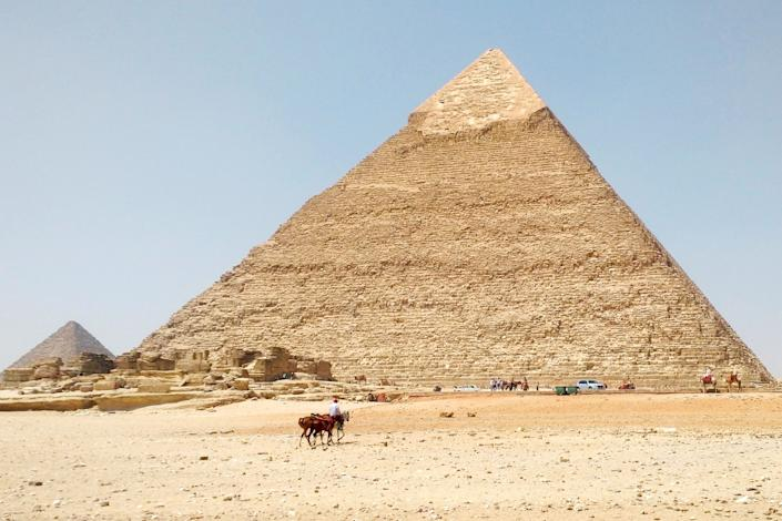 """The Egyptian pyramids at Giza are nearly deserted in this photo taken in August. <span class=""""copyright"""">(Janet Moore)</span>"""