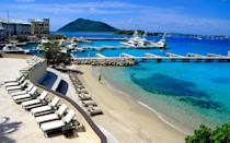 """<p>The name may suggest otherwise, but a trip here hardly constitutes roughing it. Once a pit stop for explorers, it's been virtually uninhabited for decades-until last year, when the luxe <strong>Scrub Island Resort, Spa & Marina</strong> <em>(877/890-7444; <a href=""""http://www.scrubisland.com/"""" rel=""""nofollow noopener"""" target=""""_blank"""" data-ylk=""""slk:scrubisland.com"""" class=""""link rapid-noclick-resp"""">scrubisland.com</a>; doubles from $375)</em> opened its doors. What to expect? Spacious hillside villas, guided trips to nearby Norman Island, and sunset nature hikes.</p><p><strong>T+L Tip:</strong> Reserve Honeymoon Beach (accessible only by boat) for a picnic à deux. -<em>Elena North-Kelly</em></p>"""