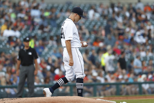 Detroit Tigers pitcher Matthew Boyd walks to the mound after allowing a Texas Rangers' Danny Santana solo home run in the fifth inning of a baseball game in Detroit, Wednesday, June 26, 2019. (AP Photo/Paul Sancya)