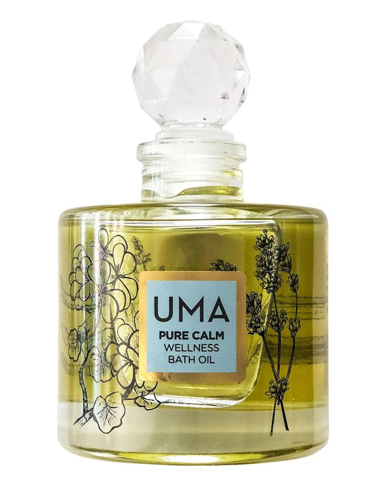 "<p>Bring some tranquillity to your evening with a soak in Uma's Pure Calm Wellness bath oil. Inspired by lavish Royal bathing rituals, it soothes your skin, while its therapeutic aroma of lavender, jasmine, chamomile and vetiver will help melt away any stresses of the day.</p><p>£67 for 100ml, <a href=""https://www.cultbeauty.co.uk/uma-pure-calm-wellness-bath-oil.html?gclid=Cj0KCQjwk8b7BRCaARIsAARRTL7UgyijxKa1xX4BGN7lo9CctzXCtxBEt1GqiV-o5ABI_MZ4cwuRt9waAh5wEALw_wcB&ef_id=Cj0KCQjwk8b7BRCaARIsAARRTL7UgyijxKa1xX4BGN7lo9CctzXCtxBEt1GqiV-o5ABI_MZ4cwuRt9waAh5wEALw_wcB:G:s"" target=""_blank"">Cult Beauty</a>.</p>"