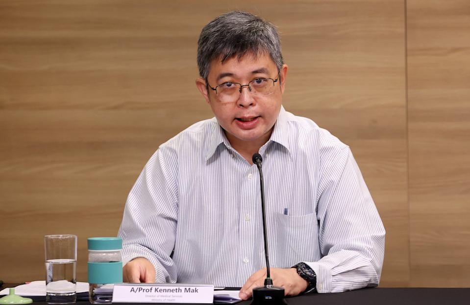 Director of medical services Kenneth Mak addresses reporters at a virtual press conference aby the multi-ministry taskforce on COVID-19 (PHOTO: Ministry of Communications and Information)