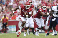 FILE - In this Saturday, Sept. 4, 2021, file photo, Arkansas quarterback KJ Jefferson (1) runs for a touchdown against Rice during the first half of an NCAA college football game in Fayetteville, Ark. Arkansas plays Texas A&M on Saturday, Sept. 25, 2021. (AP Photo/Michael Woods, File)