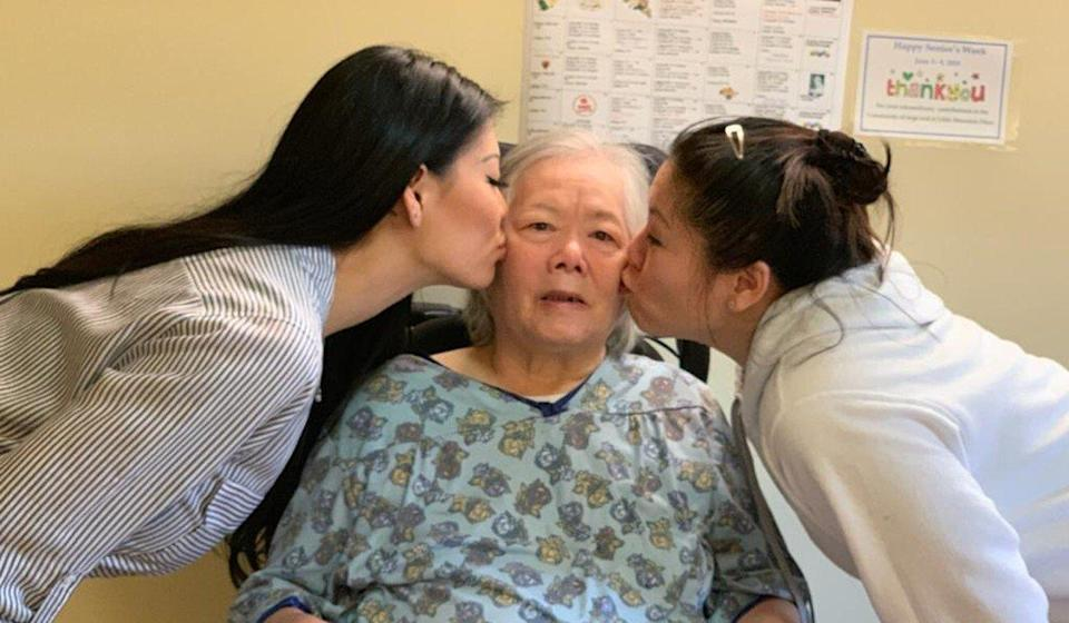 Cui Chan Wong, a resident of Vancouver's Little Mountain Place care home, is seen with daughters Wendy Wong (left) and Rose Wong. Cui, 73, died of Covid-19 in December 2020. Photo: Wong family