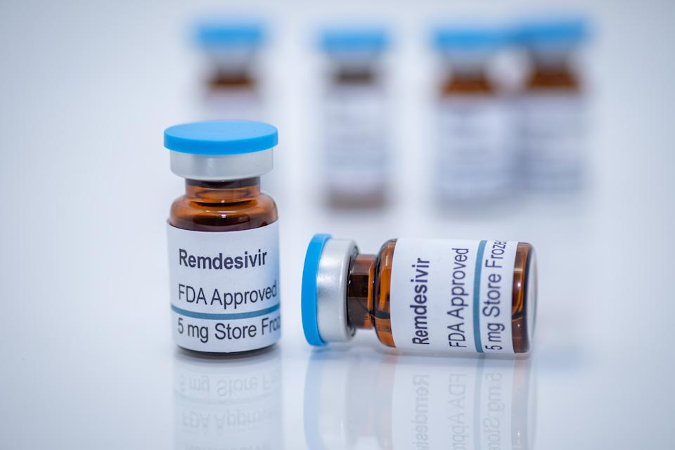 Antiviral drug remdesivir FDA approved for treatment of novel coronavirus covid-19. The design created for photography purpose only