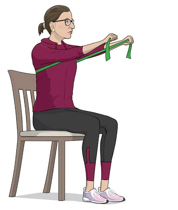Sit on a chair with resistance band wrapped behind back, grasping handles in each hand. Bend arms so that elbows are against sides and hands are close to chest. Push arms straight out, as shown, without locking elbows. Return to starting position and repeat. Do three sets of 10 to 12 reps.