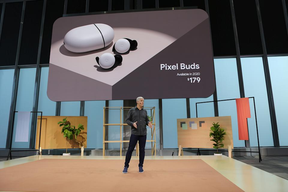 Rick Osterloh of Google describes the new Pixel Buds at the Made by Google '19 event in the Manhattan borough of New York, October 15, 2019. REUTERS/Jefferson Siegel