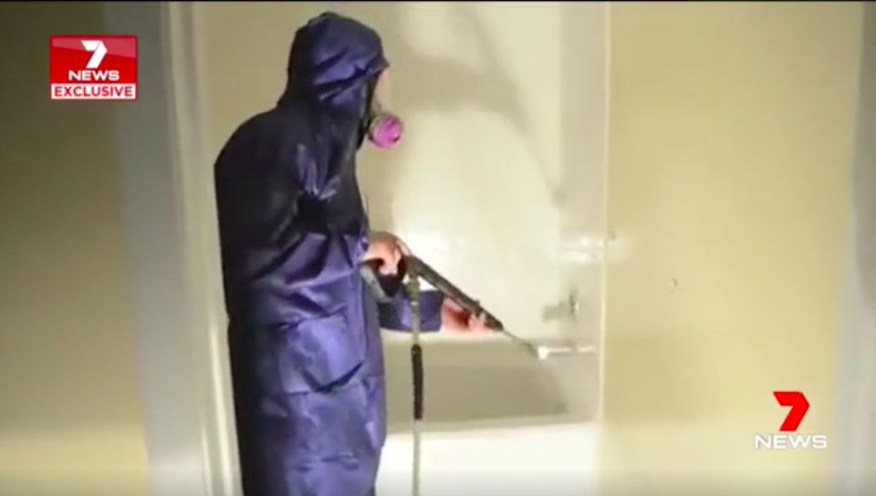 Even the most minor contamination means soaking every surface in the house before scrubbing them down and vaccuuming up the residue. Source: 7 News