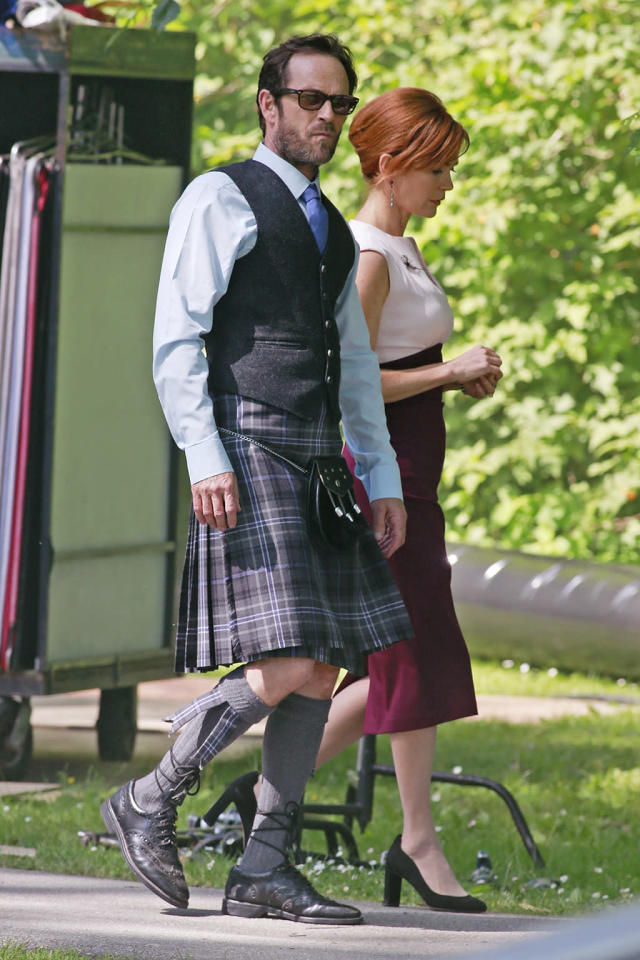 <p>The former teen idol –- filmed a scene for his show, <em>Riverdale</em>, in the city of Burnaby, British Columbia, Canada. How much do you think Perry's <i>Beverly Hills, 90210</i> character, Dylan McKay, would dislike wearing a kilt? (Photo: BACKGRID) </p>