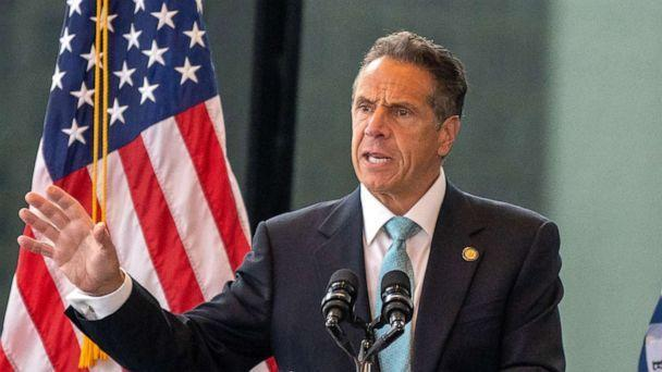 PHOTO: New York Gov. Andrew Cuomo speaks during a press conference at One World Trade Center on June 15, 2021 in New York City. The Governor announced that 70% of New York State's adult population has received at least one dose of the COVID-19 vaccine. (David Dee Delgado/Getty Images, FILE)