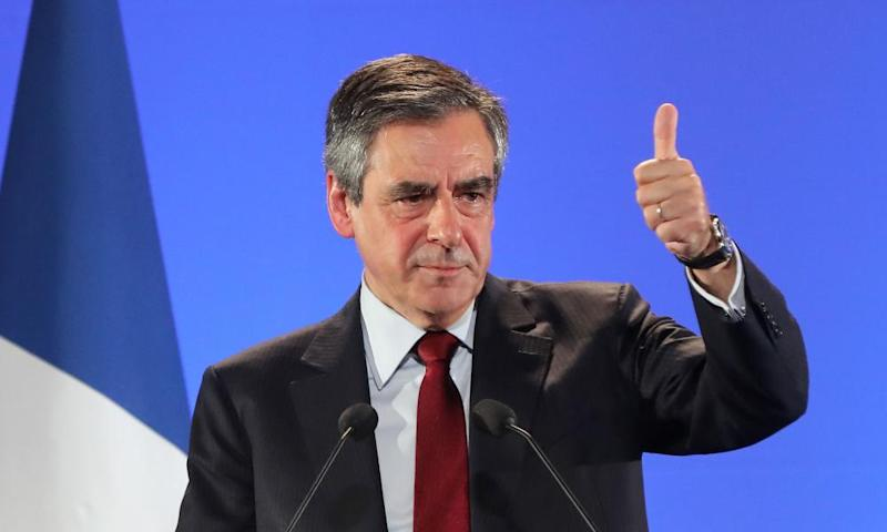 François Fillon addresses a rally in Nice on Monday