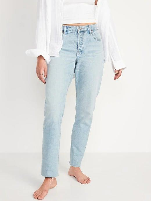 <p>When you're looking for a baggy dad style, these light <span>Old Navy High-Waisted Slouchy Straight Button-Fly Cut-Off Jeans</span> ($50) really pop.</p>
