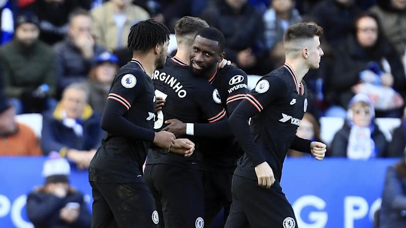 Chelsea's Antonio Rudiger (C) has bagged a brace in his side's 2-2 EPL draw at Leicester