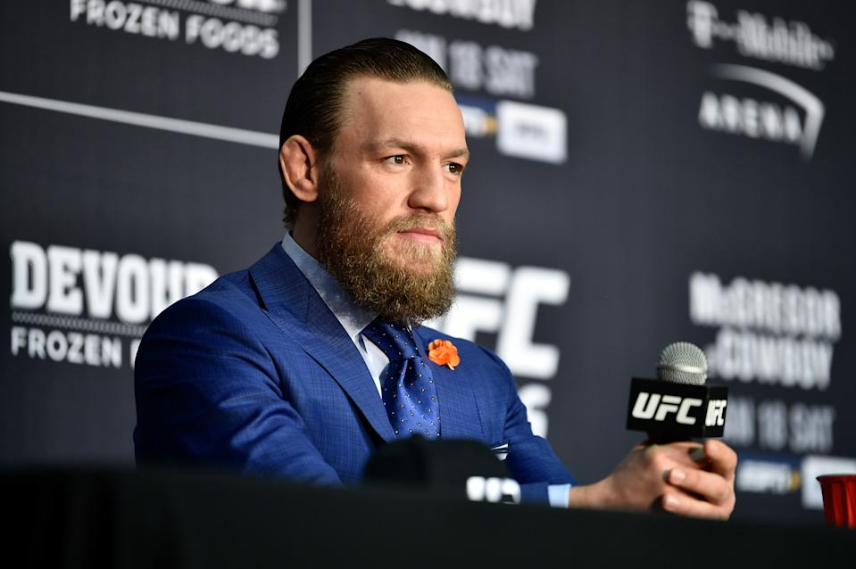 Conor McGregor speaks to the media following the UFC 246 event at T-Mobile Arena.