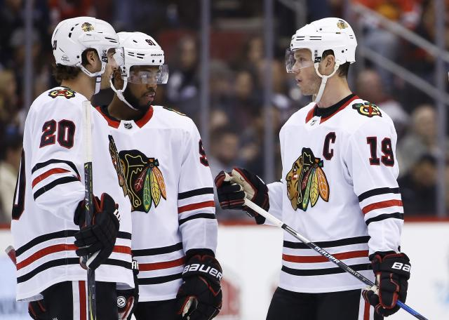 "While the <a class=""link rapid-noclick-resp"" href=""/nhl/teams/chi/"" data-ylk=""slk:Chicago Blackhawks"">Chicago Blackhawks</a> have had quite an impressive run, it seems that the league has now passed the team by. (AP Photo/Ross D. Franklin)"
