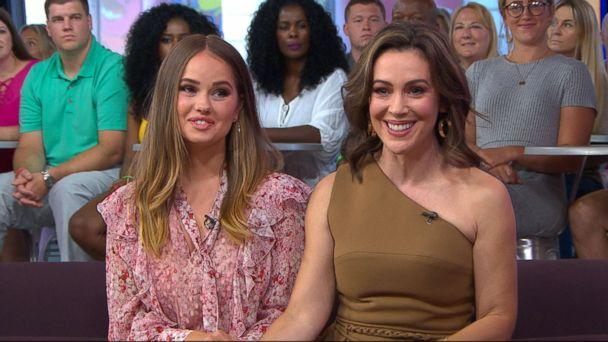 PHOTO: Debby Ryan and Alyssa Milano appear on 'Good Morning America' to chat about the controversy behind the Netflix show, 'Insatiable,' Aug 6, 2018. (ABC News)