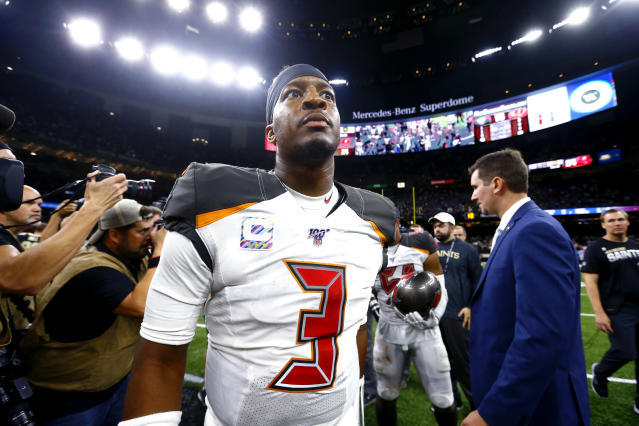 """<a class=""""link rapid-noclick-resp"""" href=""""/nfl/teams/tampa-bay/"""" data-ylk=""""slk:Tampa Bay Buccaneers"""">Tampa Bay Buccaneers</a> quarterback Jameis Winston (3) walks on the field after an NFL football game against the New Orleans Saints in New Orleans, Sunday, Oct. 6, 2019. The Saints won 31-24. (AP Photo/Butch Dill)"""