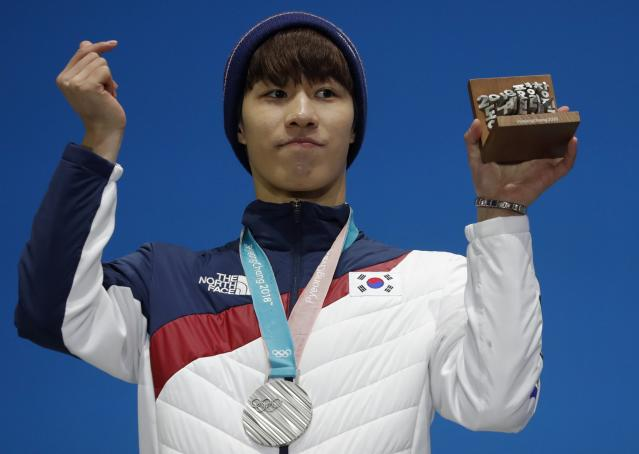 Medals Ceremony - Short Track Speed Skating Events - Pyeongchang 2018 Winter Olympics - Men's 500m - Medals Plaza - Pyeongchang, South Korea - February 23, 2018 - Silver medalist Hwang Dae-heon of South Korea on the podium. REUTERS/Eric Gaillard