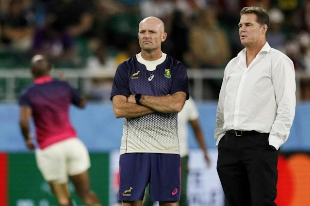 Jacques Nienaber (left) was confirmed on Friday as new South Africa head coach, taking over from Rassie Erasmus (right) who remains as director of rugby (AFP Photo/Adrian DENNIS)