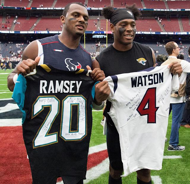 Deshaun Watson swapped jerseys with Jalen Ramsey during his breakout 2017 season. (Getty)
