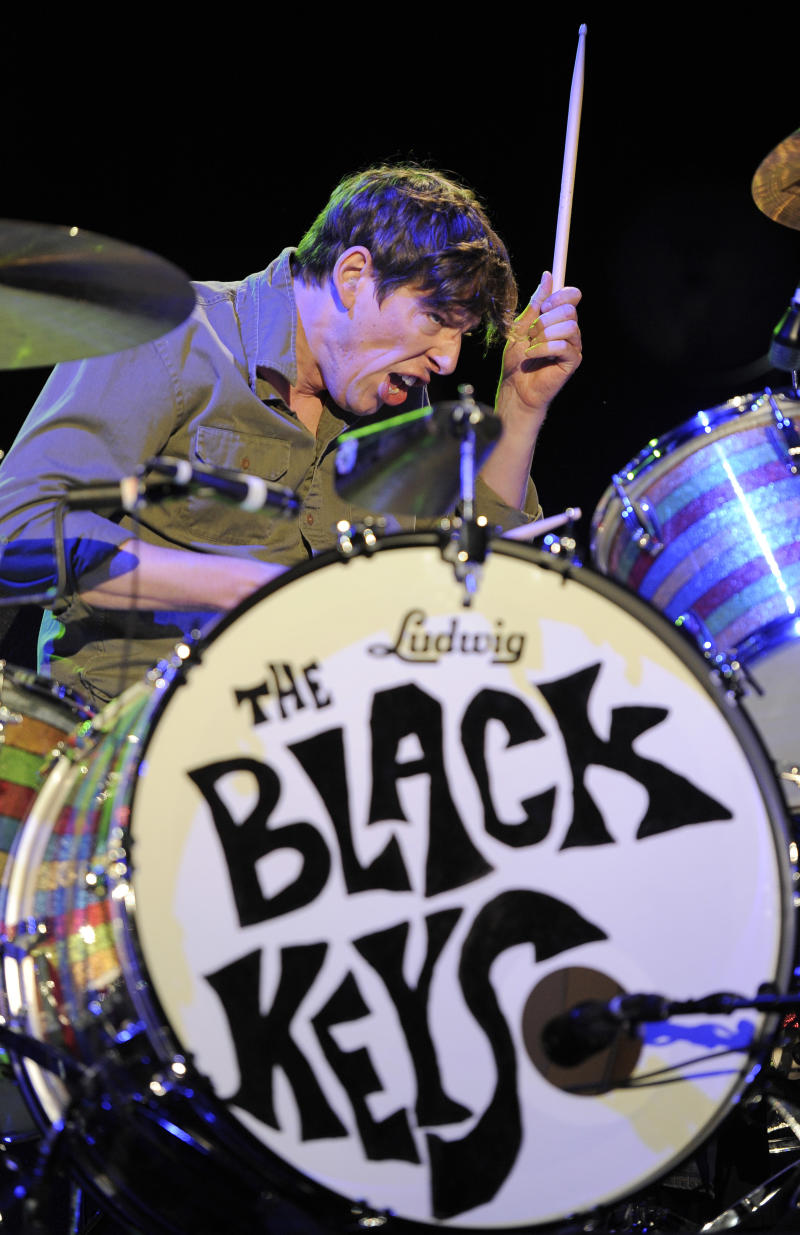 "FILE - Drummer Patrick Carney of The Black Keys performs during their headlining set at the first weekend of the 2012 Coachella Valley Music and Arts Festival, Friday, April 13, 2012, in Indio, Calif. Carney will host ""Serious Boredom,"" a new monthly radio show on the SiriusXMU channel starting Thursday, Dec. 19, 2012.  (AP Photo/Chris Pizzello, File)"