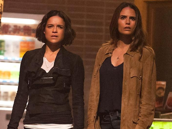 """From left: Elle (Anna Sawai), Letty (Michelle Rodriguez) and Mia (Jordana Brewster) in """"F9"""""""