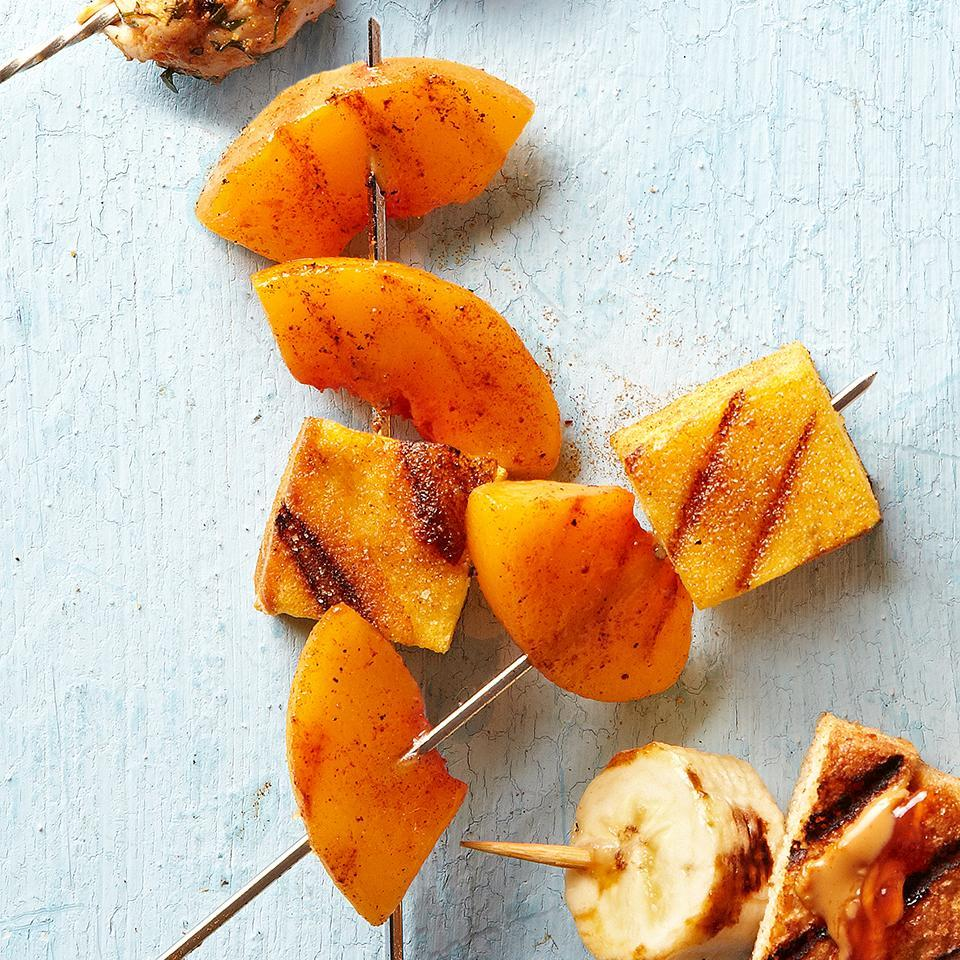 <p>This interesting dessert is one to try when you want to impress your guests. Wedges of fresh peach and cubes of pound cake are threaded onto skewers, sprinkled with a cinnamon-sugar and grilled quickly until the fruit is tender. Delicious--and impressive!</p>