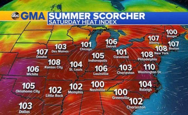 PHOTO: Heat index readings will be over 100 across most of the eastern half of the country on Saturday. (ABC News)