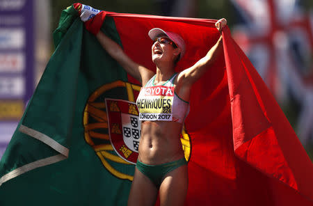 Athletics - World Athletics Championships – women's 50 km walk – London Stadium, London, Britain – August 13, 2017 – Ines Henriques of Portugal celebrates winning the gold medal. REUTERS/Matthew Childs