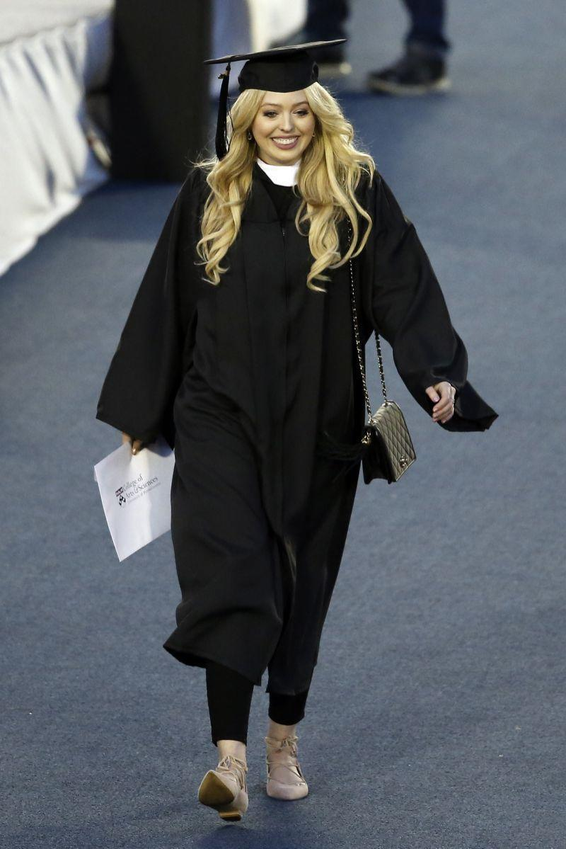 Tiffany Trump in her cap and gown after receiving her diploma while wearing Ivanka Trump shoes. (Photo: AP)